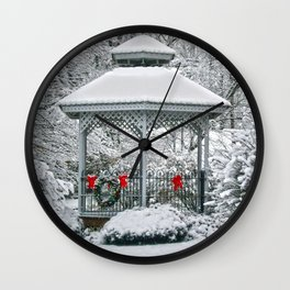 Gazebo in the Snow Wall Clock