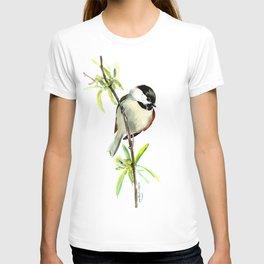 Chickadee on Willow, minimalist bird artwork chickadee painting T-shirt