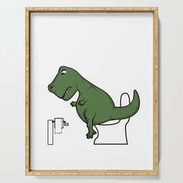 TRex dinosaur arms toilet funny gift Serving Tray