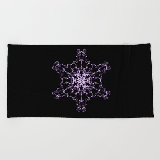 Purple Silk Snowflake Beach Towel
