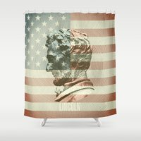 lincoln Shower Curtains featuring Lincoln by Gusvili