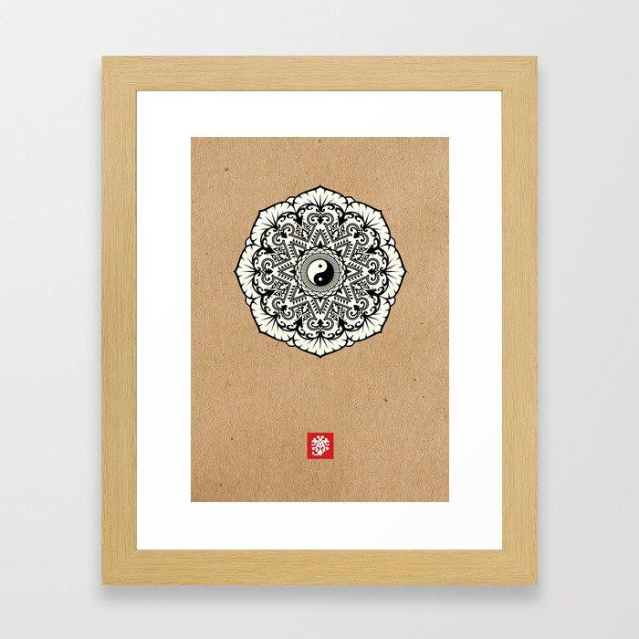 Taoist Mandala Black and White Kraft Framed Art Print