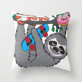 Skater Sloth and the donuts rain Throw Pillow
