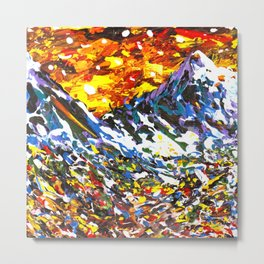 Colorful Mountain Village Metal Print