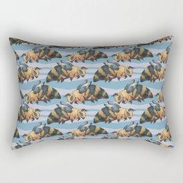 Blue Bee Pattern Rectangular Pillow