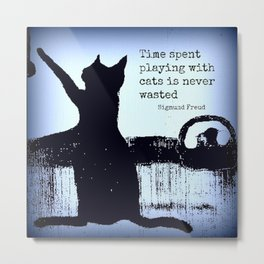 Blue cat art, black cat, sigmund freud, cat quotes Metal Print