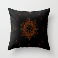 compass Throw Pillows featuring Compass by Amanda Letterman