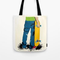 skate Tote Bags featuring skate by the lazy pigeon