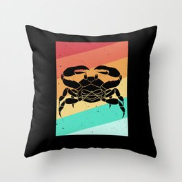 crab crayfish lobster vintage retro Throw Pillow