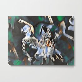 0169-PJ+NIS Sisters Abstracted Nude Zebra Girls in Green and Blue Metal Print