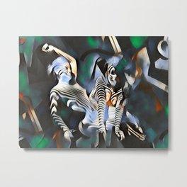 0169-PJ+NIS Sisters Abstracted Nude Zebra Girls in Green and Blue Metal Print