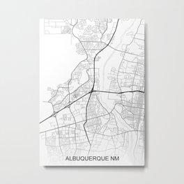 Albuquerque NM Map White USA Metal Print