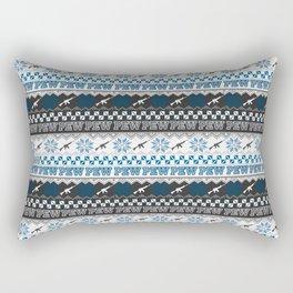 Pew Pew Gun Ugly Christmas Sweater Pattern Rectangular Pillow