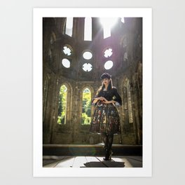 Gothic Lolita in sunny old abbey ruins Art Print