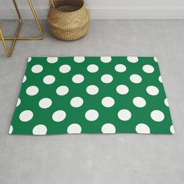 Dartmouth green - green - White Polka Dots - Pois Pattern Rug