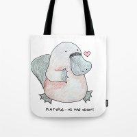 platypus Tote Bags featuring Platypus by Daynasdoodleydoos