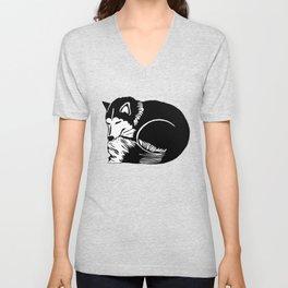Black and White Sleeping Husky Unisex V-Neck