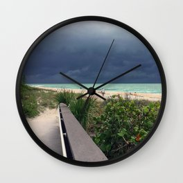 Stormy Sky, Aqua Sea Wall Clock