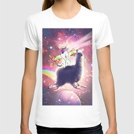 Lazer Rave Space Cat Riding Llama With Pizza T-shirt