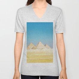 Pyramids Beneath Blue Skies Unisex V-Neck