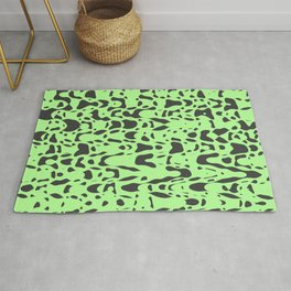 Mint green, flying gray pieces and particles free in the space, relaxing texture design Rug
