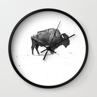 buffalo Wall Clocks featuring Buffalo by KClark Photography