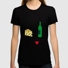 Cheese Love Wine Art Print Home Decor Kitchen Living Room Interior Printing for Wall Fun Graphic  T-shirt
