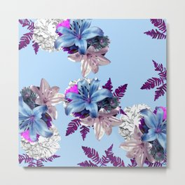 LILY SILVER BLUE AND PURPLE WITH WHITE HYDRANGEAS Metal Print
