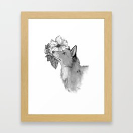 Flower Fox Framed Art Print