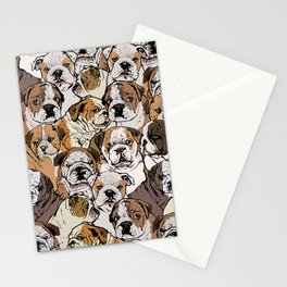 Social English Bulldog Stationery Cards