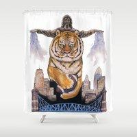 cincinnati Shower Curtains featuring Cincinnati Bengal Tiger by The Groundbird