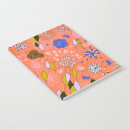 Orange Flower Pattern Notebook