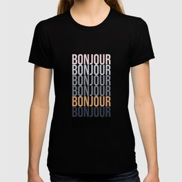Bonjour in Bold Typography and Fall Colors T-shirt