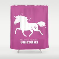 unicorn Shower Curtains featuring Unicorn by ellis