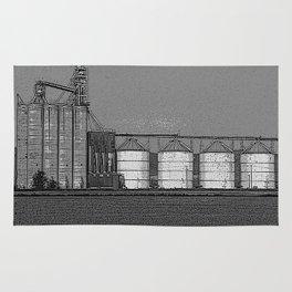 Black & White Grain Silos Pencil Drawing Photo Rug