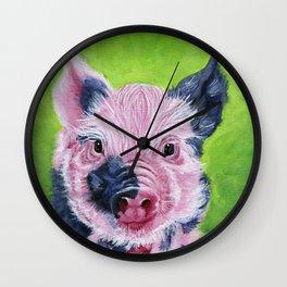 Cute Pig Art - Vegan Art Wall Clock