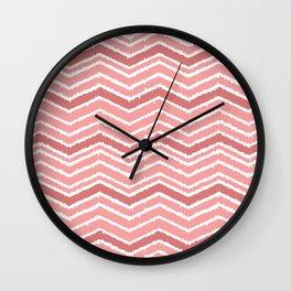 Zig zag pattern geometric coral Wall Clock