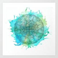 Turquoise splatter Mandala Art Print