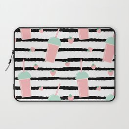 cute lovely pattern background with strawberry smoothies on black brush Laptop Sleeve