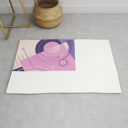 Modern geometric composition pink and blue Rug