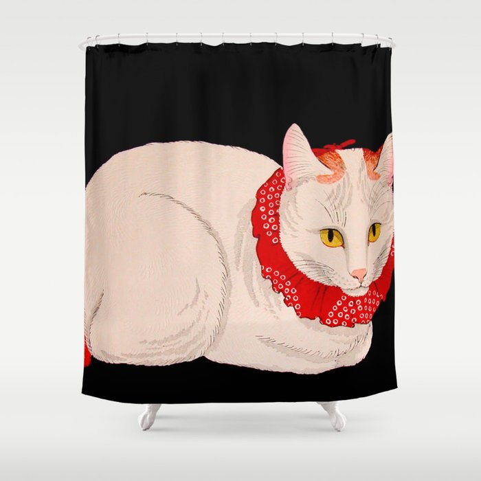 Shotei Takahashi White Cat In Red Outfit Black Background Vintage Japanese Woodblock Print Shower Curtain By Enshape