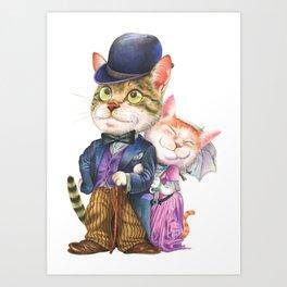 A couple of cats in retro fashion Art Print