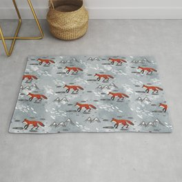 Little Mountain Foxes Grey Rug