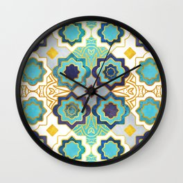 Marrakesh gold and blue geometry inspiration Wall Clock