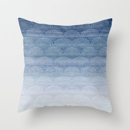 Blue Ombre Shibori Style Pattern, Indigo, Rainbow Pattern, Blue Sky Throw Pillow