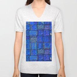 V2 Calm Blue Traditional Moroccan Cloth Texture. Unisex V-Neck
