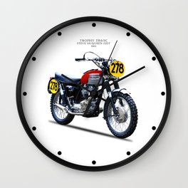 The Steve McQueen ISDT Motorcycle 1964 Wall Clock
