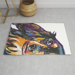 Longhaired Dachshund Fun Dog Portrait bright colorful Pop Art Painting by LEA Rug