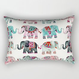 Elephant Collection – Turquoise & Coral Palette Rectangular Pillow