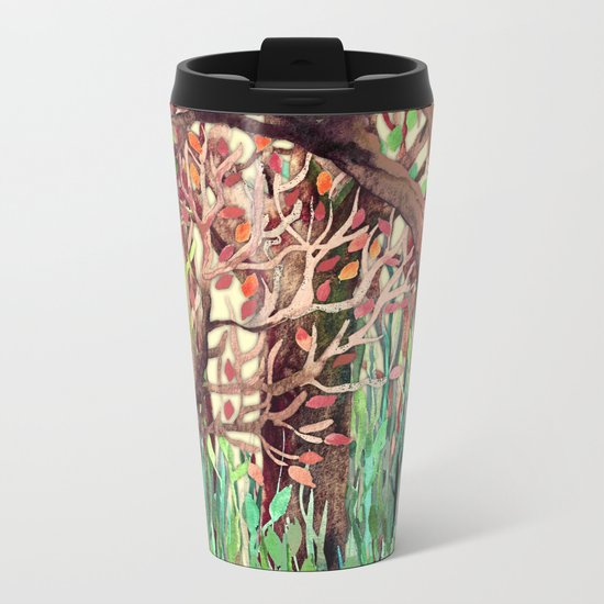 Lost in the Forest - watercolor painting collage Metal Travel Mug